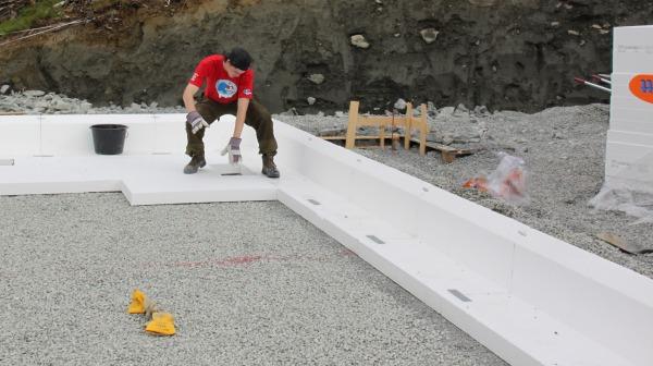 Isopor på betonggulv